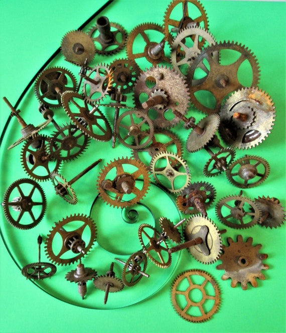 40 Old and Tarnished Solid Brass and Steel Clock Parts for your Clock Projects - Steampunk Art Stk#201