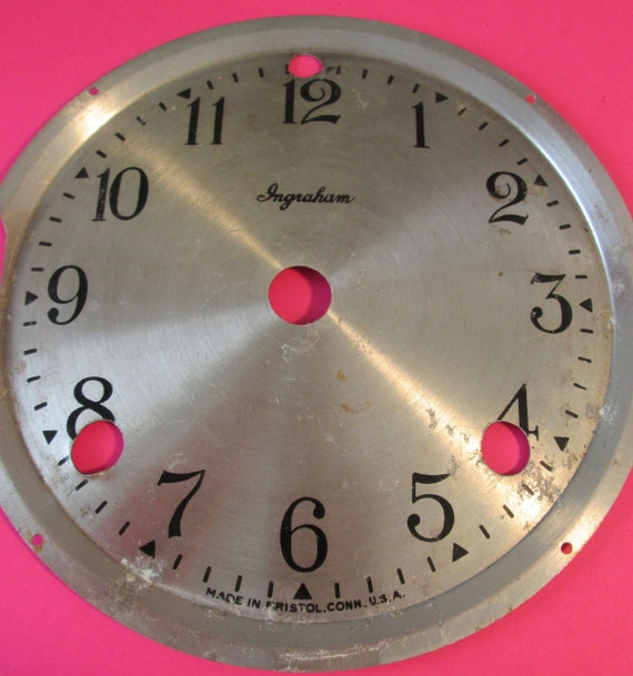 "5 3/4"" Ingraham Clock Co. Aluminum Clock Dial with 1/2"" Tall Numbers for your Clock Projects, Steampunk Art..."
