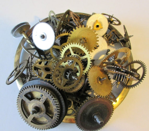 """42 Antique Clock Parts Brass and Steel With 5 5/8"""" Brass Clock Bezel for your Clock Projects - Steampunk Art"""