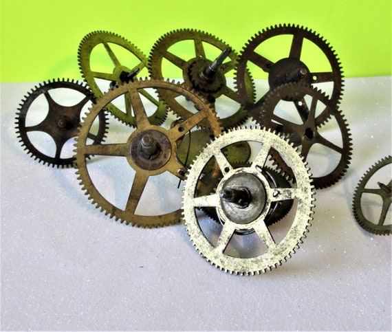 10 Assorted Old and Tarnished Solid Brass and Steel Clock Parts for your Clock Projects - Steampunk Art Stk#703
