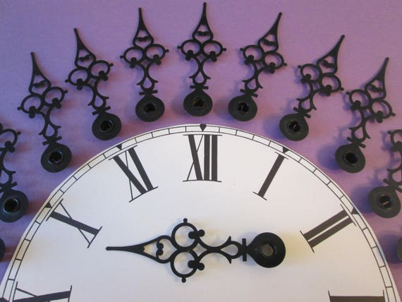 "12 Large 3 3/4"" Vintage Painted Solid Brass Serpentine Design Clock Hour Hands for your Clock Projects, Steampunk Art, Jewelry Making Stk145"