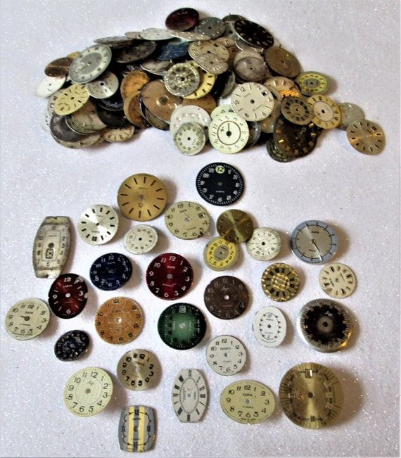 200 Assorted Vintage Wrist Watch Dials for your Watch Projects - Steampunk Art - Jewelry Crafts and Etc..Stk# W79