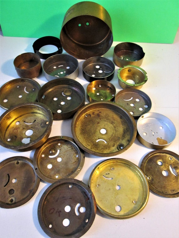 18 Assorted Vintage Alarm Clock Cases and Backs for your Clock Projects, Steampunk Art, Metalworking Stk#578