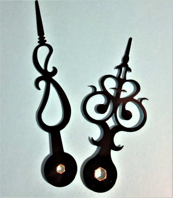 "1 Pair of New Black Aluminum Fancy Design Clock Hands for your Projects - Crafts & Etc..5 1/4"" and 4""."