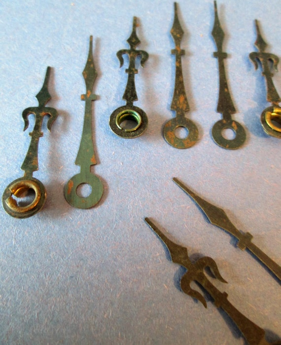 5 Pairs of Rusty/Dusty Ansonia Design Steel Clock Hands for your Clock Projects, Steampunk Art & Etc...