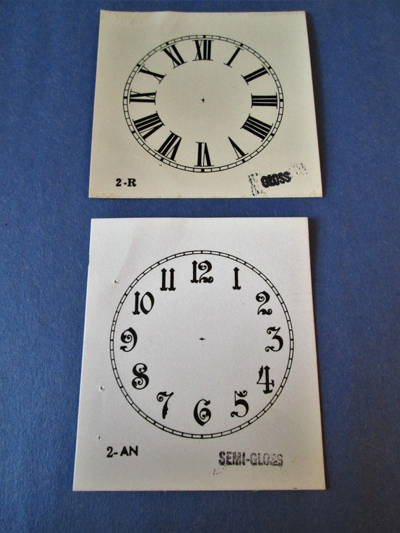 "2 Small 2"" Heavy Paper Clock Dials for your Antique / Vintage / New  Clock Projects - Art Projects - Steampunk"