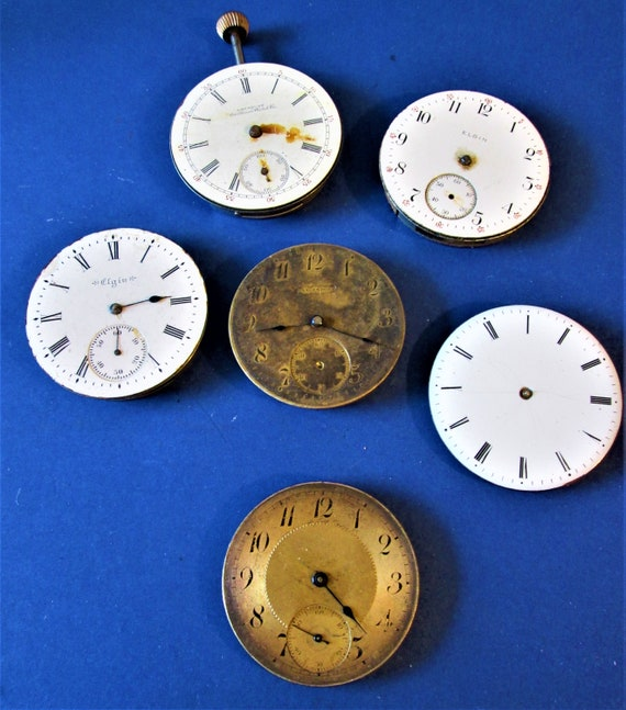 6 Partial Antique Watch Mechanisms for Parts - Steampunk Art - Jewelry Crafts and Etc...Stk# W67