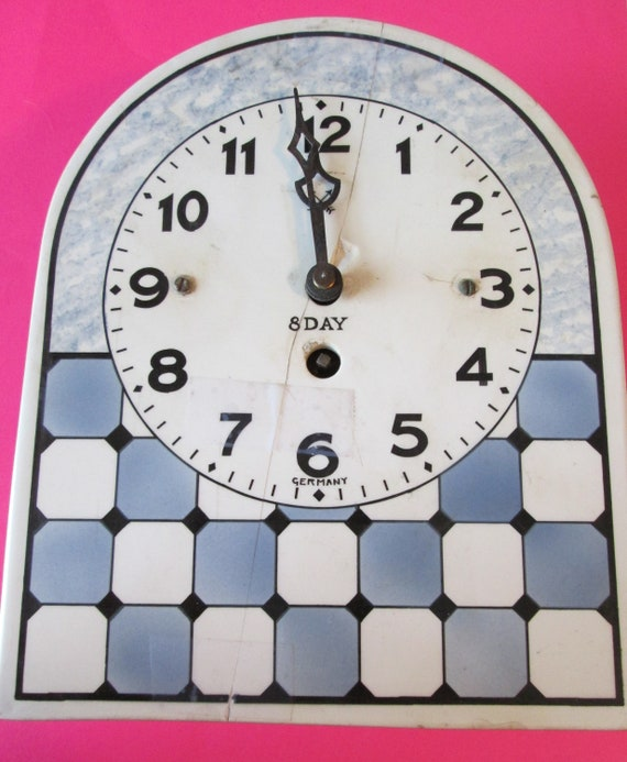 "1 Old and Cracked German Made 8 Day Ceramic Clock 8 1/4"" Tall, 6 3/4"" Wide - Not Working - for Parts/Repair"