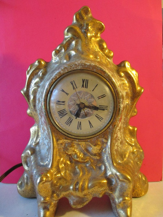 """Vintage 11 1/2"""" Tall Glazed Ceramic Le Meina Brand Working Electric Clock"""