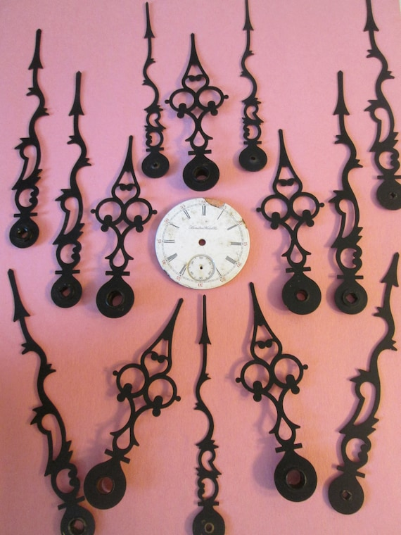 14  Large Vintage Painted Solid Brass Serpentine Style Clock Hands - Make Clocks -Jewelry - Steampunk Art - Crafts and Etc..