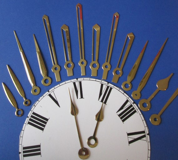 8 Pairs of Old Solid Brass Assorted Styles Clock Hands for your Clock Projects, Steampunk Art, Jewelry Making + Etc Stk#80