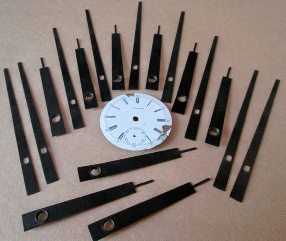 "9 Pairs of New/Old Stock Black Steel Clock Hands with 1 3/4"" Ceramic Watch Dial - Make Clocks, Jewelry, Steampunk Art  Etc...4"" and 2 3/4"""