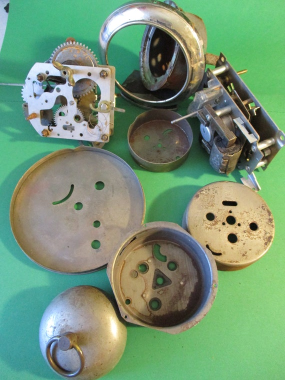 9 Piece Lot of Old Alarm Clock Parts for your Clock Projects - Steampunk Art - Stk# 357