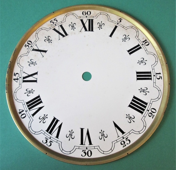 """6"""" German Made Clock Dial on a  Brass Pan for your Clock Projects, Steampunk Art.Stk#723"""