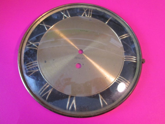 "8"" Old And Worn 8 Day Brass Plated Steel Clock Dial With 7/8"" Roman Numerals for your Clock Projects, Steampunk Art..."