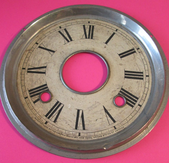 "6 1/4"" Vintage Ansonia Paper Dial on Metal Pan with Steel Bezel for your Clock Projects , Steampunk Art and Etc..."