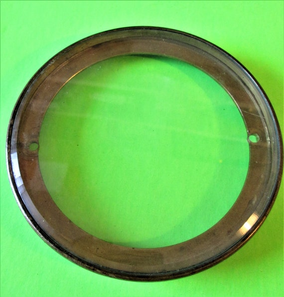 Small Antique Solid Brass Clock Bezel with Flat Beveled Glass for your Clock Projects - Art  Stk# 432