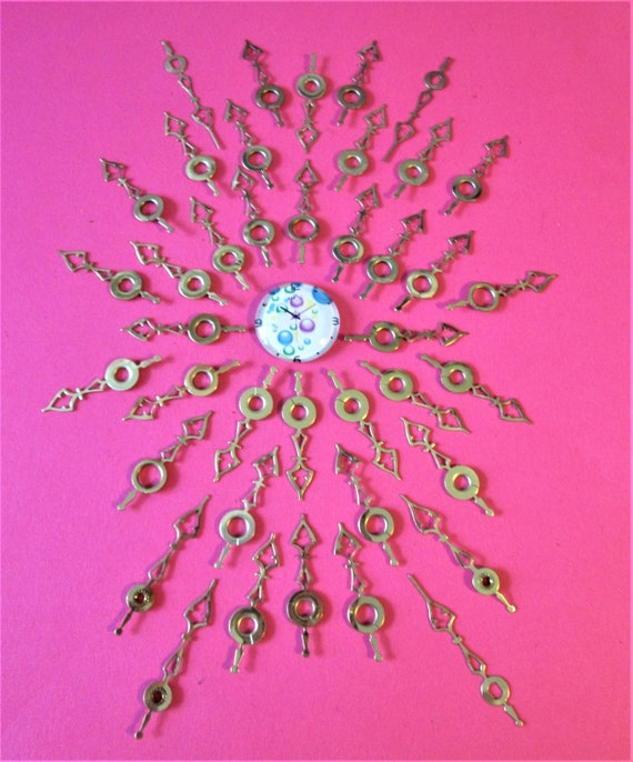 40 Small Vintage Solid Brass and Brass Plated Steel Clock Hands for your Clock Projects - Jewelry Making - Art  Stk# 423