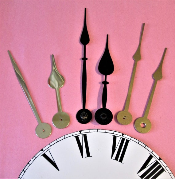 3 Pairs of Large Spade Design Clock Hands for your Clock Projects, Steampunk Art, Jewelry Making and etc.. Stk# 101