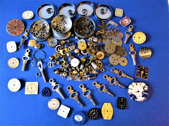 Big Lot of Assorted Antique and Vintage Pocket and Wrist Watch Parts and Pieces for your Watch Projects - Steampunk Art - Stk# W75
