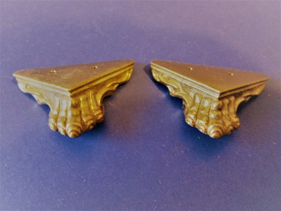 2 New Reproduction Shiny Gold Painted Cast Metal Mantle Clock Front Feet for your Clock Projects and Etc.Stk#498