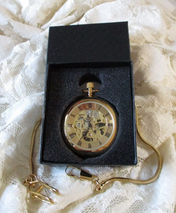 New Reproduction - Antique Look Skeleton Glass and Shiny Brass Mechanical Working Pocket Watch with Chain and Gift Box