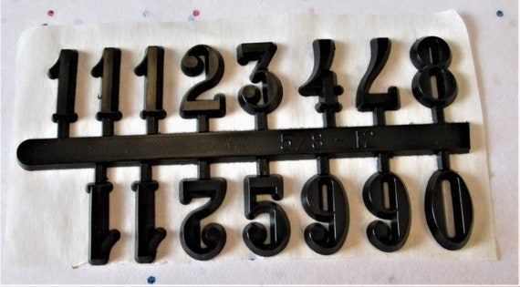"1 Set of 3/4"" Black Plastic Press on Numbers for your Clock Projects, Scrap Booking, Steampunk Art Stock#56"