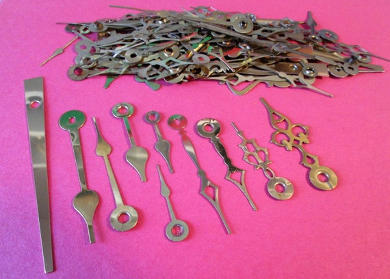 115  Assorted Vintage Shiny Gold Clock Hands- for your Clock Projects, Steampunk Art, Jewelry Making and Etc...