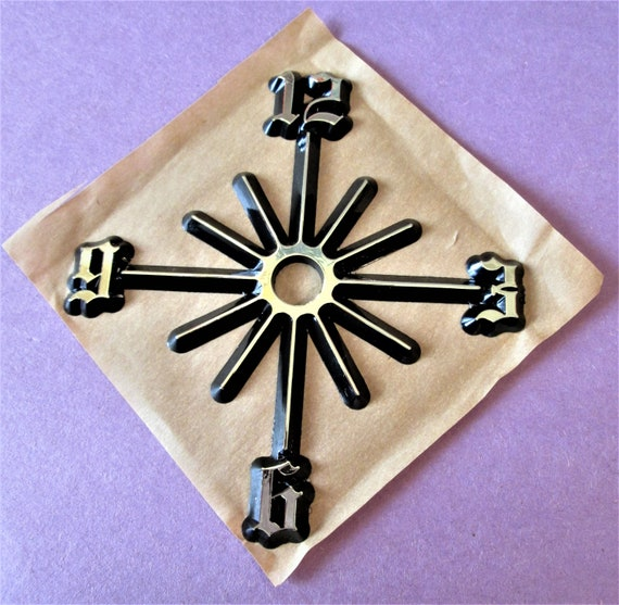 """1  3 1/8"""" One piece Vintage Shiny Gold with Black Backround Press on Numbers for your Clock Projects, Scrap Booking, Steampunk Art Stock#62"""