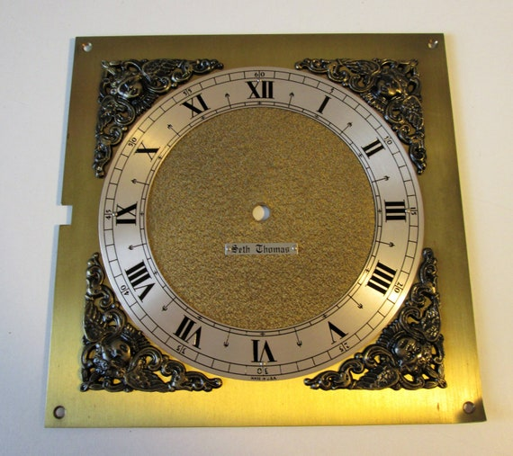 """7 1/2"""" X 7 1/2"""" Vintage Seth Thomas Heavy Solid Brass Clock Panel with 6"""" Dial and Roman Numerals for your Clock Projects, Steampunk Art"""