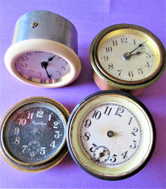Lot of 4 Vintage Assorted Small Partial Clocks for Repair/Parts Steampunk Art and Etc..Stk# 525