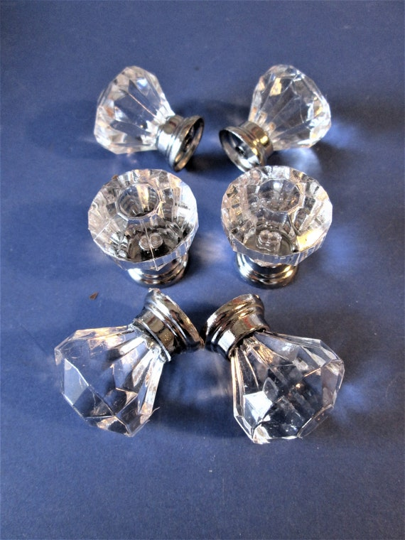 6 New Small Fancy Chrome and Acrylic Door/Drawer Knobs for your Decorating Projects - Art -