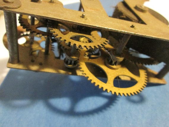 """Old & Worn 4 1/2"""" x 3 1/4"""" Partial Antique Clock Works - Brass and Steel - for your Clock Projects,  Steampunk Art"""