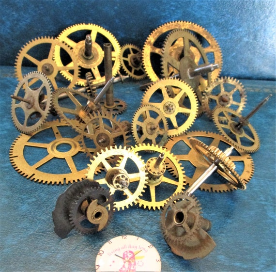 20 Assorted Large and Medium Sized Antique Clock Wheels With Other Parts Attached for your Clock Projects - Steampunk Art - Stk# 400