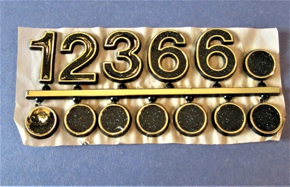 1 Gold Plastic with Black Sparkled Press On Clock Numbers and Dots for your Clock Projects, Scrap Booking, Steampunk Art Stock#59