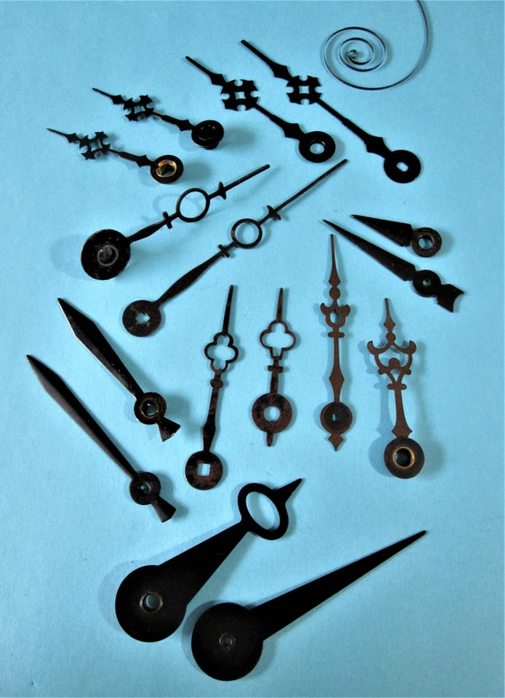 8 Pairs of Assorted Vintage Black Steel Clock Hands for your Clock Projects - Art - Stk# 238