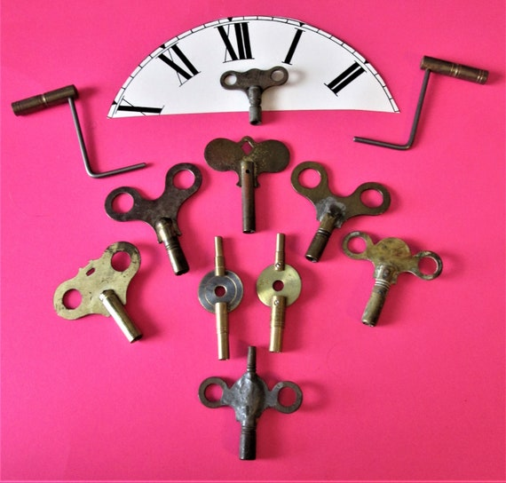 11 Antique & Vintage Assorted Clock Keys for your Clock Projects, Steampunk Art and Etc..Stk#304.