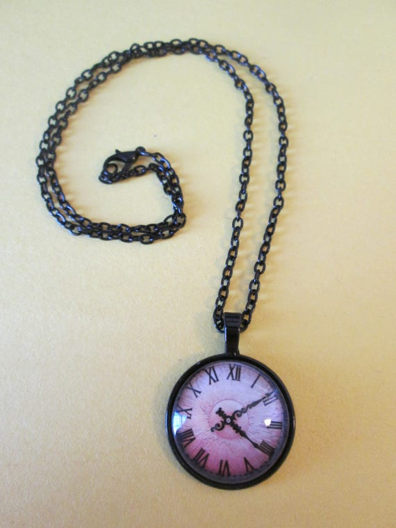 "1 New Antiqued Look Domed Glass Clock Theme Necklace 1"" Wide with an 18"" Black Chain - Great Gift Idea"