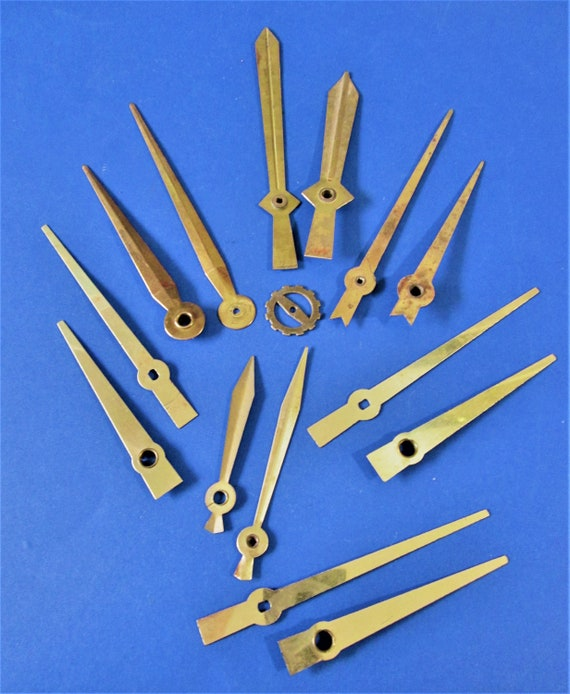 7 Pairs of Old Solid Brass Sword Design Clock Hands - Make Clocks, Jewelry, Steampunk Art and Etc..Stk#634