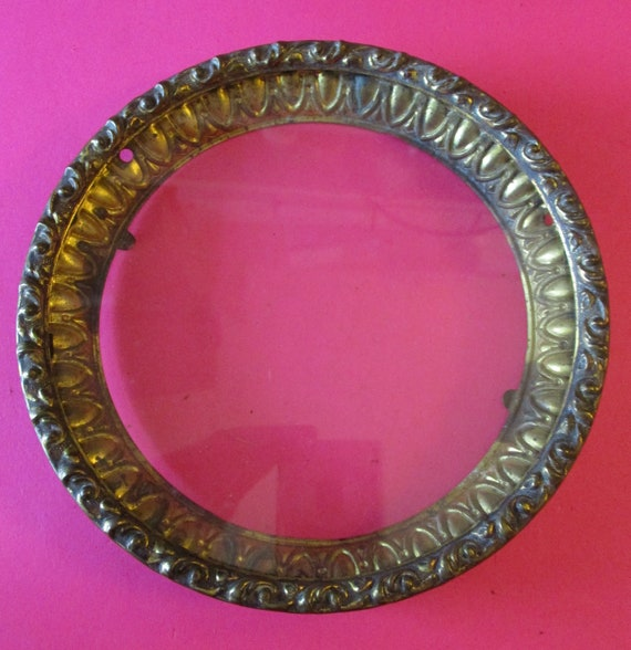 "5 3/4"" Wide Antique Fancy Pressed Solid Brass 2 Piece Bezel With Flat Glass Stk# 341"