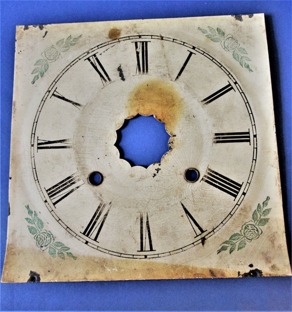 """8 3/8"""" Vintage Worn and Faded Painted Metal Fancy Clock Dial for your Clock Projects - Art - Stk# 358"""