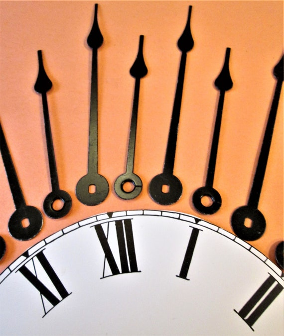 6 Pairs of Vintage Black Steel Spade Design Clock Hands for your Clock Projects, Steampunk Art, Jewelry Making and etc.. Stk# 22