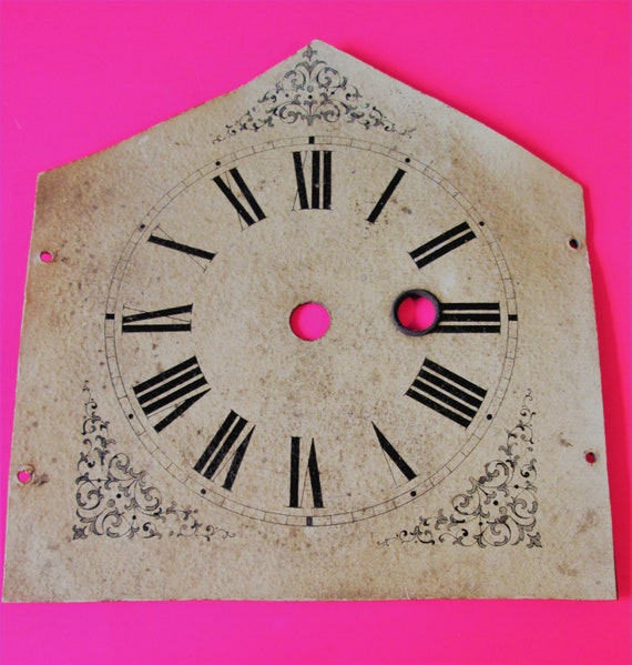 """3 3/4"""" Round Dial Size Steeple Clock Dial Paper on Tin Pan for your Clock Projects - Art -Stk# 354"""