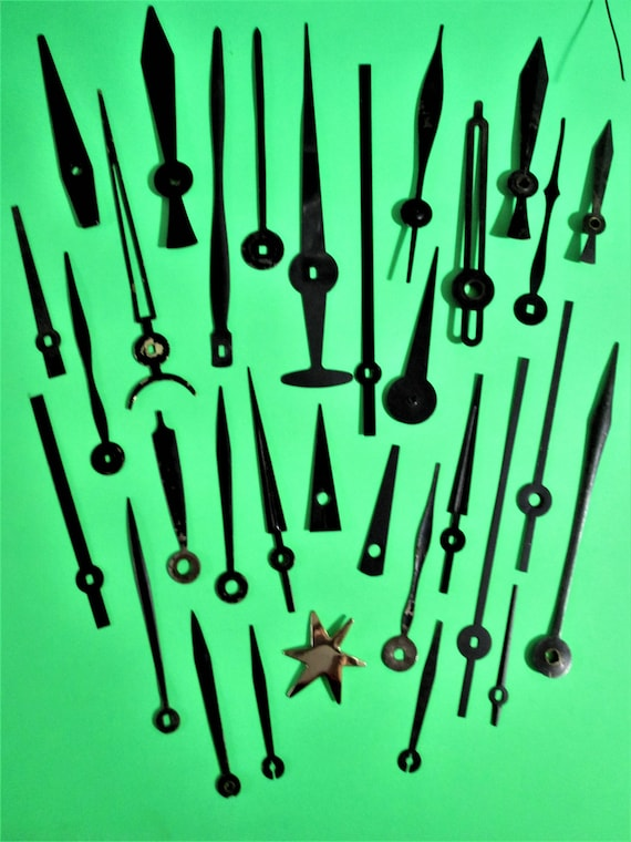 30 Assorted Vintage Black Steel Clock Hands - for your Clock Projects - Steampunk Art Stk# 662