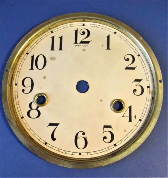 """5 5/8"""" Paper on Brass Plated Pan Welch Clock Company Dial for your Clock Projects, Steampunk Art...Stk#618"""