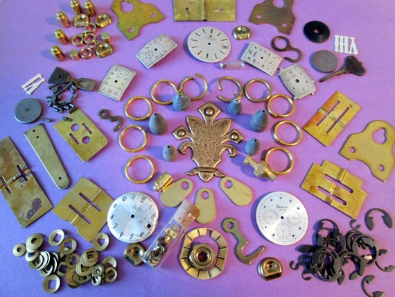 Steampunkers Lot of Antique & Vintage Clock and Watch Parts and Pieces for your Clock Projects, Steampunk Art, Jewelry Making and Etc..