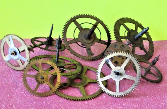 10 Assorted Old and Tarnished Solid Brass and Steel Clock Parts for your Clock Projects - Steampunk Art Stk#705
