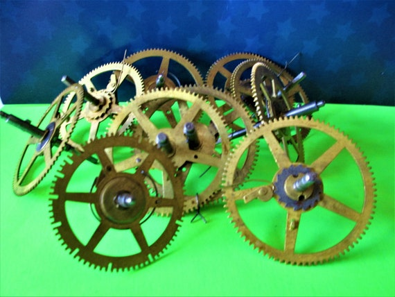 10 Large Solid Brass and Steel Antique Clock Wheels with Assorted Parts Attached for your Clock Projects - Steampunk Art - Stk# 400