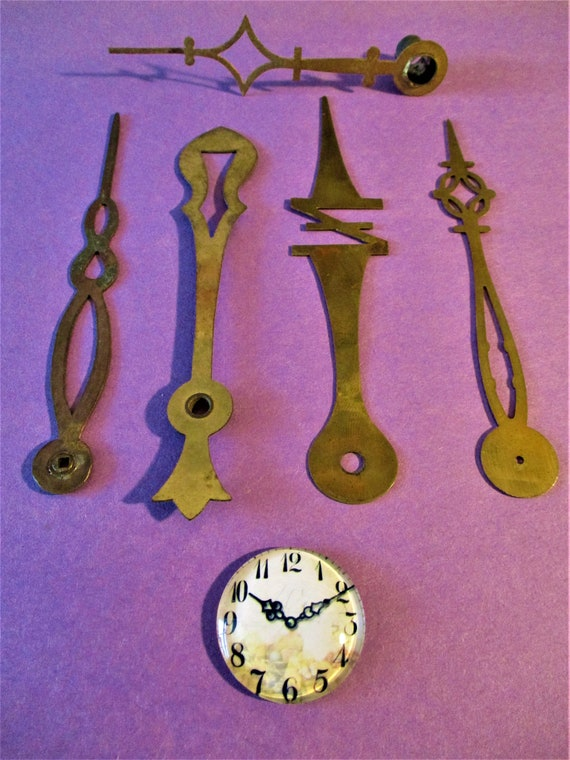 5 Awesome large Antique Clock Hands - Unusual Styles for your Clock Projects - Steampunk Art - Jewelry Making Stk# 705
