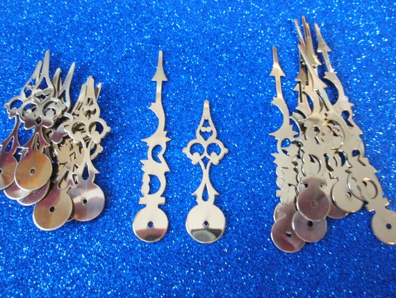 """10 Pairs of Vintage Solid Brass Serpentine Design Clock Hands - Make Clocks, Jewelry, Steampunk Art and Etc... 3"""" and 2 1/4"""""""